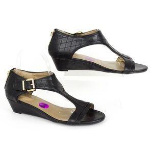 "Me Too ""Sage"" Black T-Strap Wedge Sandals 8.5 SO"